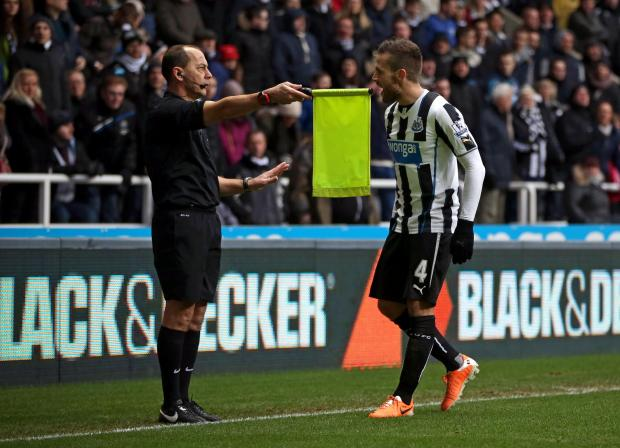The Advertiser Series: YOU CANNOT BE SERIOUS: Johan Cabaye offers his opinion to referee's assistant Stephen Child