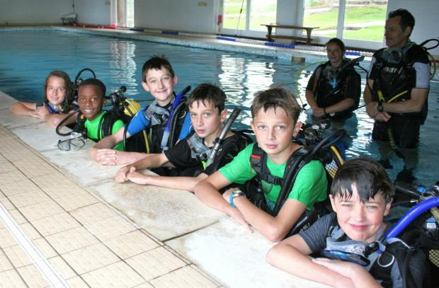 The Advertiser Series: Some of the students trying scuba diving with Cundall Manor School