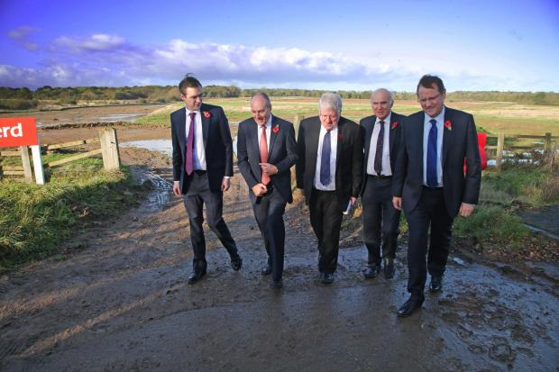 The Advertiser Series: Phil Wilson, far right, pictured at the site of Hitachi's new Aycliffe train factory, with guests including Business Secretary, Dr Vince Cable, second rig