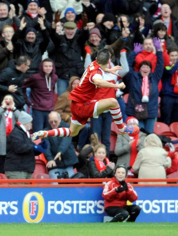 The Advertiser Series: JUMP FOR JOY: Emmanuel Ledesma celebrates scoring the only goal of the game in Middlesbrough's win over Charlton Athletic