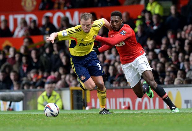 The Advertiser Series: FAMILIAR FACE: Manchester United's Danny Welbeck, right, who spent a season on loan at the Stadium of Light, battles for the ball with Sunderland's Lee Cattermole during their Capital One Cup semi-final at Old Trafford last night