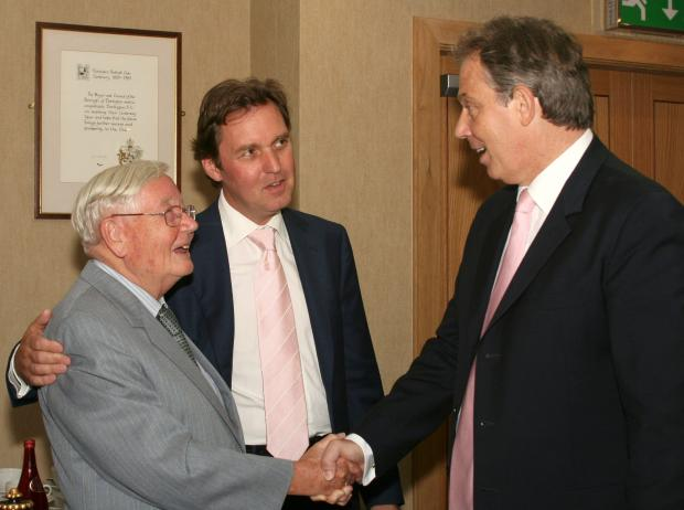 The Advertiser Series: FLASH BACK: Cliff Hutchinson left, shakes hands with then-Prime Minister Tony Blair in 2005. Also pictured is the town's then-MP, Alan Milburn