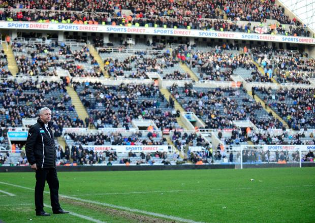 The Advertiser Series: LONELY PLACE: Newcastle manager Alan Pardew watches amid a half full St James' Park after watching his side concede a third goal against Sunderland on Saturday