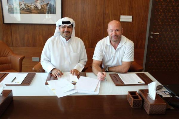 The Advertiser Series: Alan Shearer (right) signing a deal w