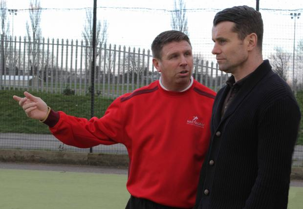 The Advertiser Series: OFFICIAL OPENING: Martin Gray explains to Shay Given how his Football Academy operates