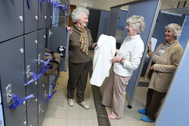 The Advertiser Series: From L – R, Barbara Escreet, Vicky Moverley and Dorothy Dawson check out the new changing rooms and lockers at Thirsk.