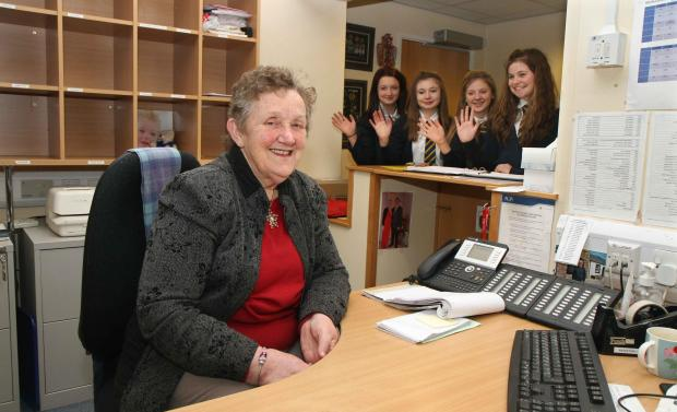 The Advertiser Series: Farewell...Thirsk School receptionist Pat Chapman who is retiring after 40 years at the school, waved off by pupils (l-r) Emily Cox,15; Maisie Johnson,14; Lucy Gould,14 and Amy Brewer,15