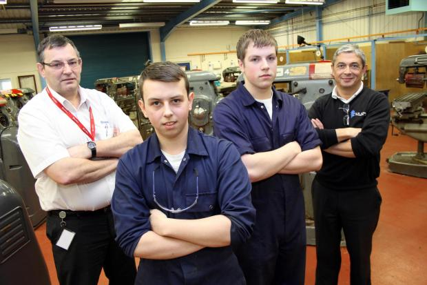 The Advertiser Series: Pictured from left to right are Husqvarna facilities manager, Joe Storey, apprentices Nathan Bresnen and Scott Maclean, and Jeremy Cannon, SWDT's business development co-ordinator