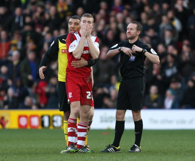 The Advertiser Series: OFF YOU GO: Ben Gibson receives a red card for a second bookable offence