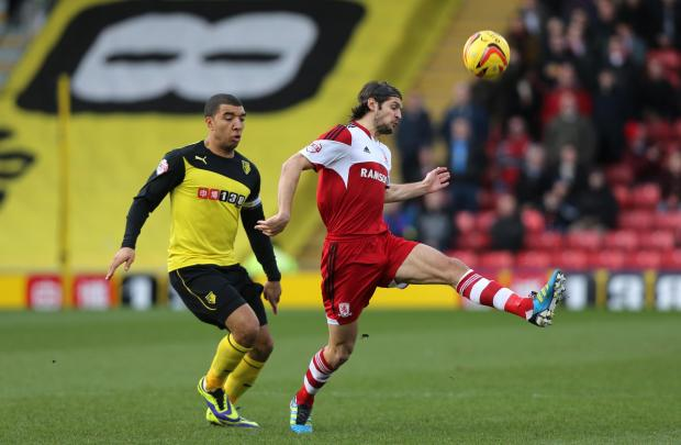 The Advertiser Series: BLANK BORO: George Friend on the ball during Saturday's defeat at Watford - Boro's fifth game in a row without scoring