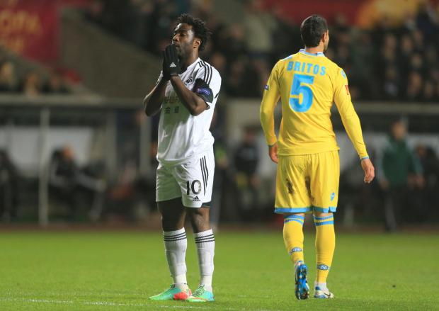 The Advertiser Series: ANOTHER ONE GOES BY: Swansea City's Wilfried Bony shows his dejection after another missed chance during the UEFA Europa League tie with Napoli. The Swans dominated, but ended up with a 0-0 draw