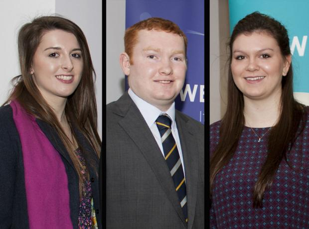 The Advertiser Series: L-R Kate Chapman, Tom Heseltine and Jennifer Costello, who have received scholarships from the poultry industry for their studies