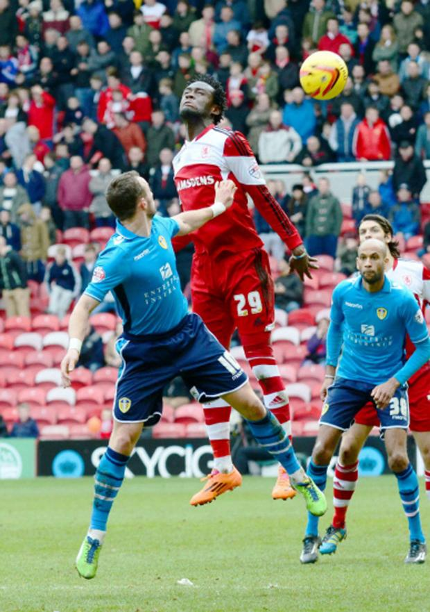 The Advertiser Series: HIGH HOPES: Boro's Kei Kamara wins a header against Leeds United's Noel Hunt on Saturday