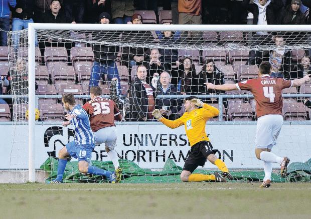 The Advertiser Series: TWO UP: Ben Dickensen puts Northampton Town 2-0 ahead against Hartlepool United on Saturday