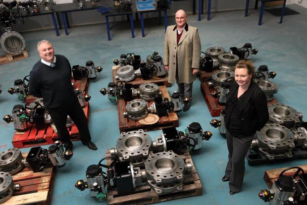 The Advertiser Series: Pictured from left to right are Evolution directors Peter Cone and Steve Heap, with UK Steel Enterprise's Sarah Thorpe
