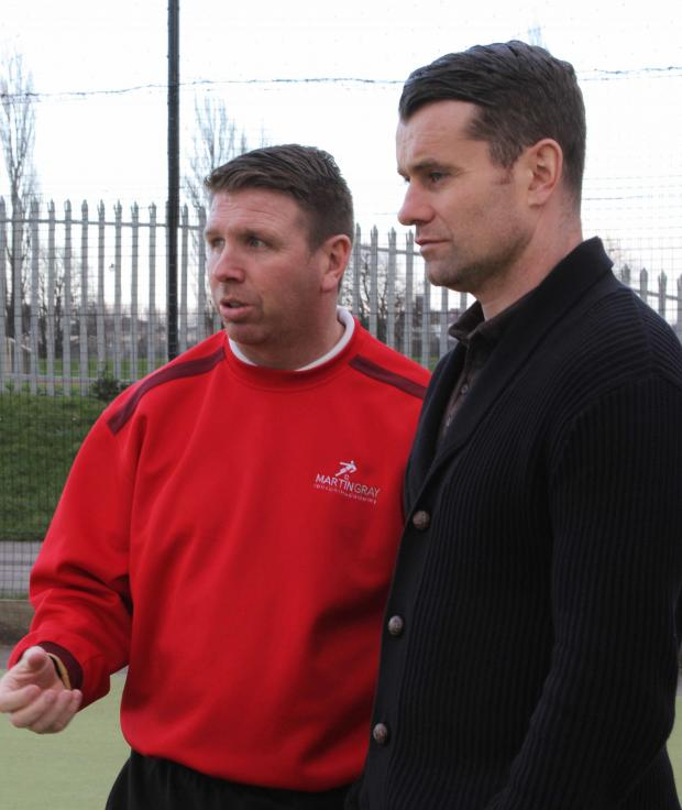 The Advertiser Series: FOCUS: Martin Gray alongside Shay Given, showing him the football Academy at Eastbourn Sports Complex.