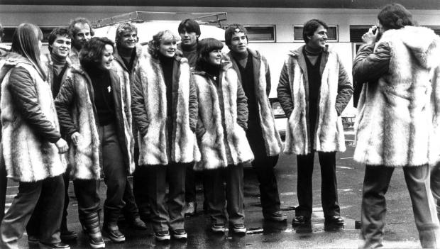The Advertiser Series: Members of the British alpine ski team wear their Shildon-made Astraka furs at the 1980 Winter Olympic Games in Lake Placid