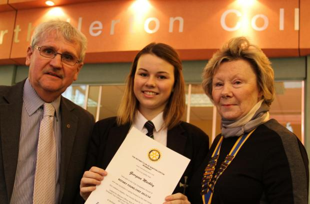 The Advertiser Series: Northallerton College student Georgina Mackley is presented with a Rotary Club award for her efforts by governor Kevin Hardisty and Northallerton and Mowbray president Sue Bush