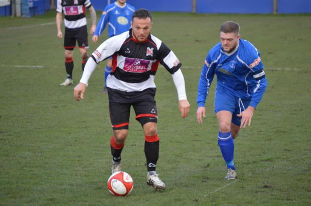 The Advertiser Series: ON THE ATTACK: Stephen Thompson looks for an opening during Saturday's 2-0 win at Padiham