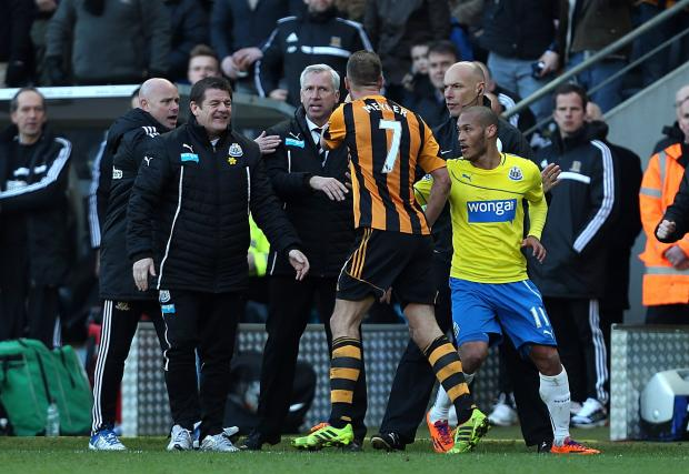 The Advertiser Series: NO LAUGHING MATTER: Newcastle United assistant manager John Carver chuckles as Alan Pardew and Hull City's David Meyler confront each other on Saturday