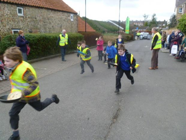 The Advertiser Series: Bedale youngsters battle it out in pancake race