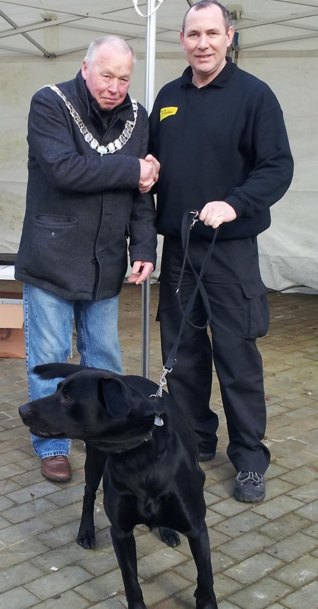 The Advertiser Series: RESPONSIBLE OWNER: Barnard Castle mayor Frank Harrison with his dog Jethro and David Kelly, from