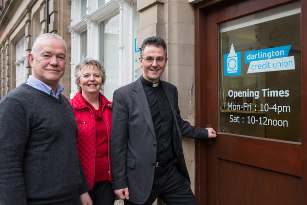 The Advertiser Series: FULL CREDIT: Tony Brockley of Darlington Credit Union, Angela Gibson, the credit union's churches liaison officer and the Reverend Canon John Dobson, vicar of All Saints Blackwell and Darlington Area Dean. Picture: KEITH BLUNDY