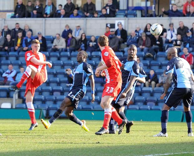The Advertiser Series: VOLLEY GOOD: Jack Barmby fires in Hartlepool's goal at Wycombe