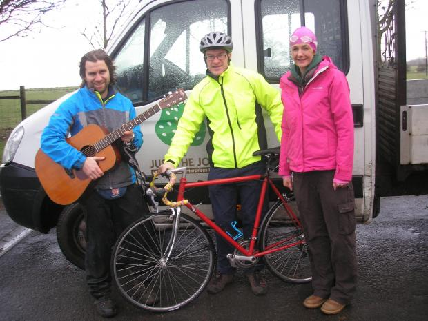 The Advertiser Series: Just-the-Job fundraisers, from left, singer Andy D'Arcy, cyclist Steve Biggs and swimmer Clare Atkinson.