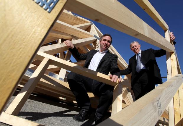 The Advertiser Series: From left: Steve Harris of Fencehouse Truss wth Cllr Hary Trueman, Deputy Leader of Sunderland City Council