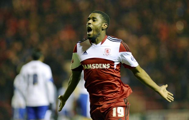 The Advertiser Series: ONE UP: Boro's man of the match Mustapha Carayol after putting his side 1-0 up against Forest in the 53rd minute last night