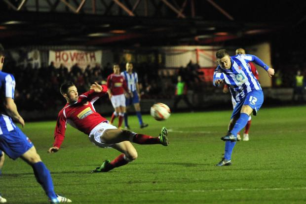 The Advertiser Series: POT SHOT: Hartlepool United's Jack Barmby has a shot at goal during last night's 0-0 draw at Accrington Stanley at the Crown Ground
