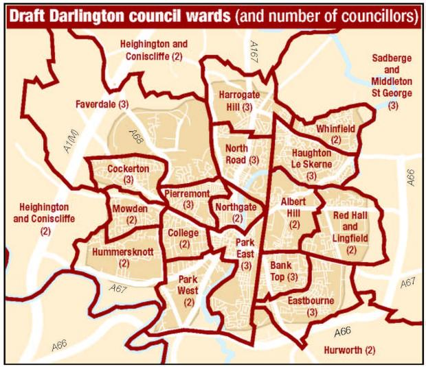The Advertiser Series: The draft ward boundaries for Darlington Borough Council as proposed by the Boundary Commission - the merged Sadberge and Middleton St George ward can be seen to the right