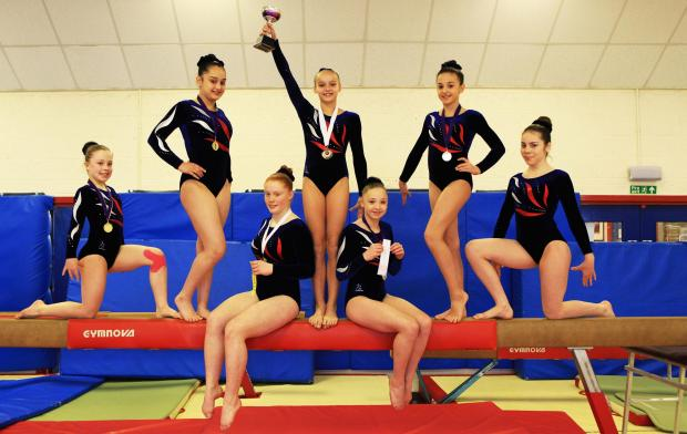 The Advertiser Series: Gymnasts, from left, Maya Taylor 12, Lauren Roper 13, Jordan McKinnon 14, Olivia Austin 12, Hope Godfrey 13, Ellen Barnes 12 and Jodie Friebel 13