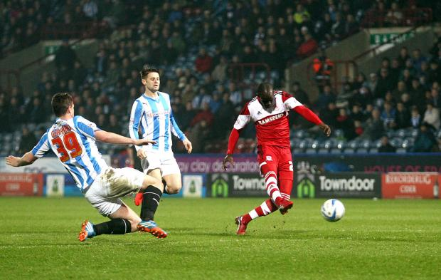 The Advertiser Series: LEVEL AGAIN: Albert Adomah scores his second goal of the evening to equalise at the John Smith's Stadium last night while his teammates join him for the celebrations