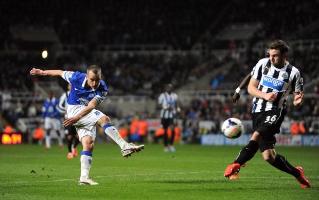 The Advertiser Series: GAME OVER: Everton's Leon Osman hammers the final in Newcastle's coffin as he makes it 3-0 last night at St James' Park