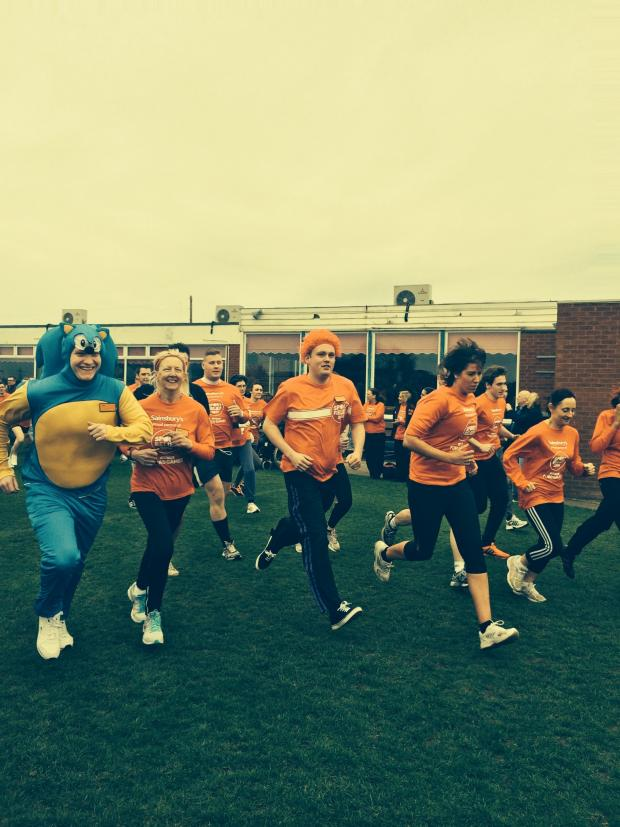The Advertiser Series: Sainsbury's staff take part in the Sport Relief Mile at Sedgefield Racecourse