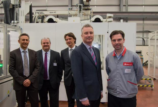 The Advertiser Series: Pictured from left to right are Mecaplast Group's business director Emmanuel Voituret, chief executive Pierre Boulet and chairman Thierry Manni, with Paul Varley of the North East LEP and Steve Tyson, general manager of Mecaplast Peterlee