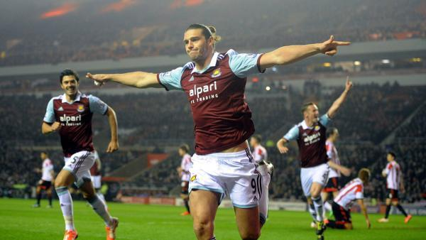 The Advertiser Series: CRUCIAL STRIKE: Andy Carroll celebrates after opening the scoring in West Ham's 2-1 win over Sunderland