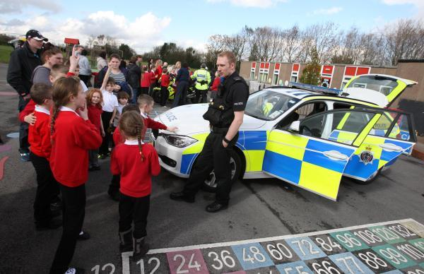 The Advertiser Series: PC Peter Gibson from Durham and Cleveland Road Policing Unit visits Evenwood C of E Primary School for a speed awareness day
