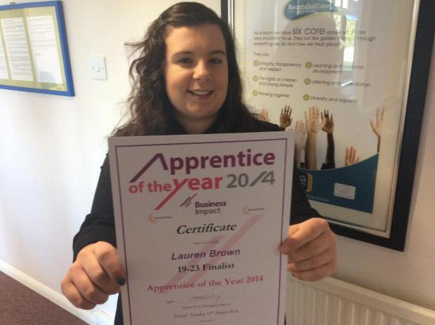 The Advertiser Series: Lauren Brown, of Reach Out Care Fostering Services in Newton Aycliffe, made it to the finals of a national apprenticeship competition