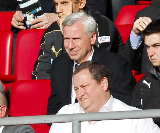 The Advertiser Series: WATCHING ON: Alan Pardew, above Mike Ashley