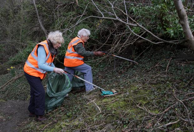The Advertiser Series: Sandra Moorhouse (left) and Dorothy Tindale join in a litter pick on the riverbanks at Barnard Castle.