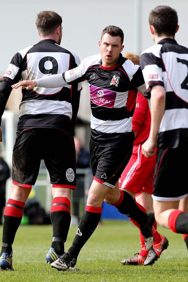 The Advertiser Series: AHEAD: Nathan Fisher celebrates giving Darlington a 19thminute lead against Radcliffe Borough