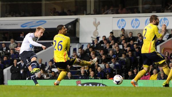 The Advertiser Series: CRISP FINISH: Christian Eriksen drills home Tottenham's third goal in a 5-1 win over Sunderland