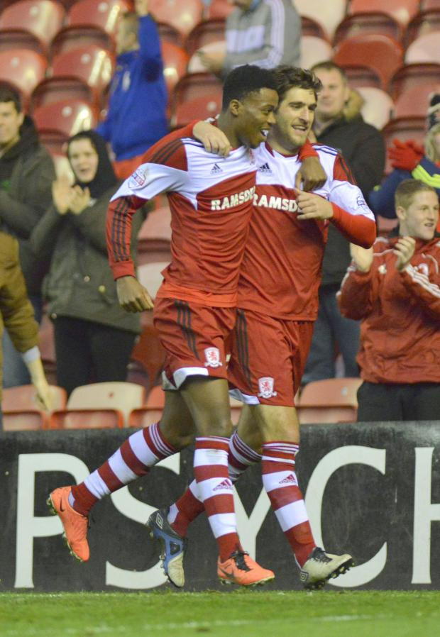 The Advertiser Series: TIME TO CELEBRATE: Danny Graham after putting Boro ahead last night