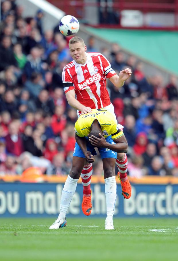 The Advertiser Series: HEADS FIRST: Stoke City's Ryan Shawcross, top, and Newcastle United's Shola Ameobi battle for the ball