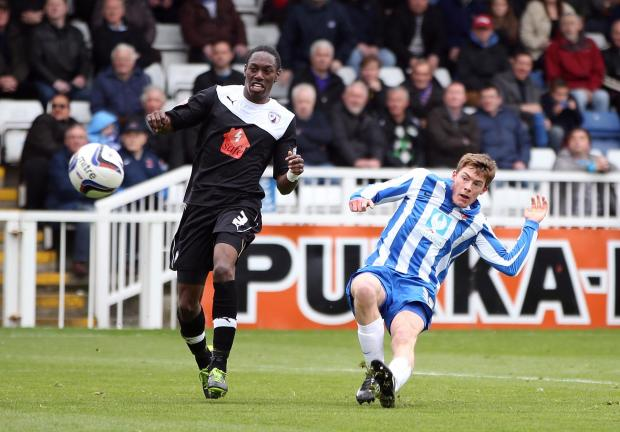 The Advertiser Series: ON TARGET: Luke James puts Hartlepool ahead but the joy was shortlived as Chesterfield came back to win 2-1