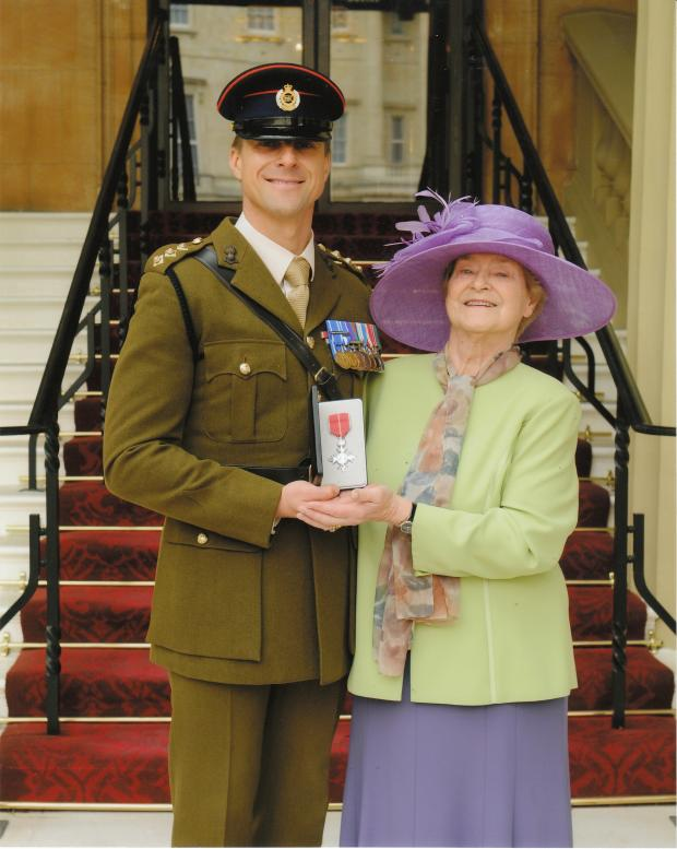 The Advertiser Series: Captain Steffan Wright with his MBE and his mother Gisela Taylor