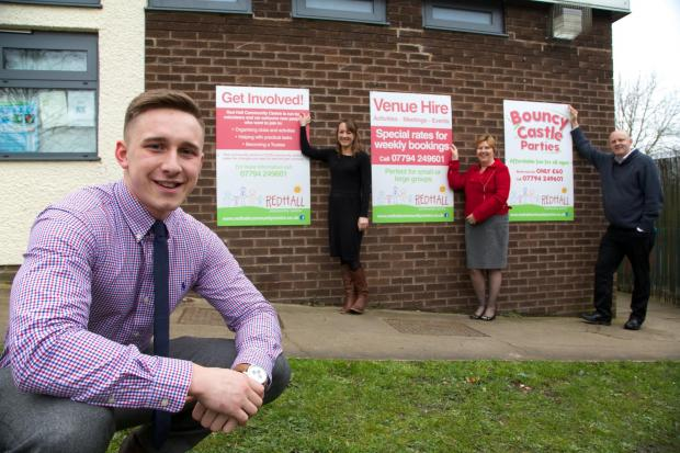 The Advertiser Series: NEW SIGNS: Jenny Ivison and Carol Huitson from RDW, Martin Landers Trustee at Red Hall Community Centre  and Josh Palin from DBS at the front.